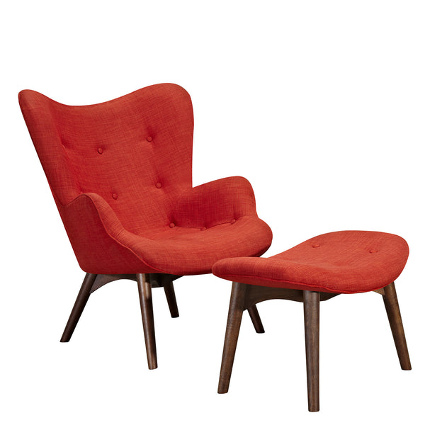 Lava Red Aiden Chair-Walnut
