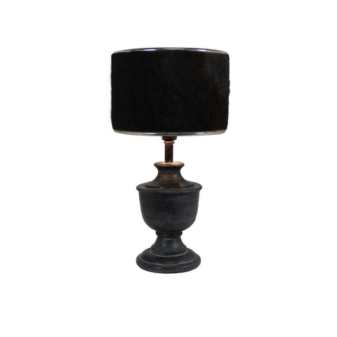 Urban Designs 19-Inch Round Wood Dark Gray Wash and Brown Cowskin Table Lamp