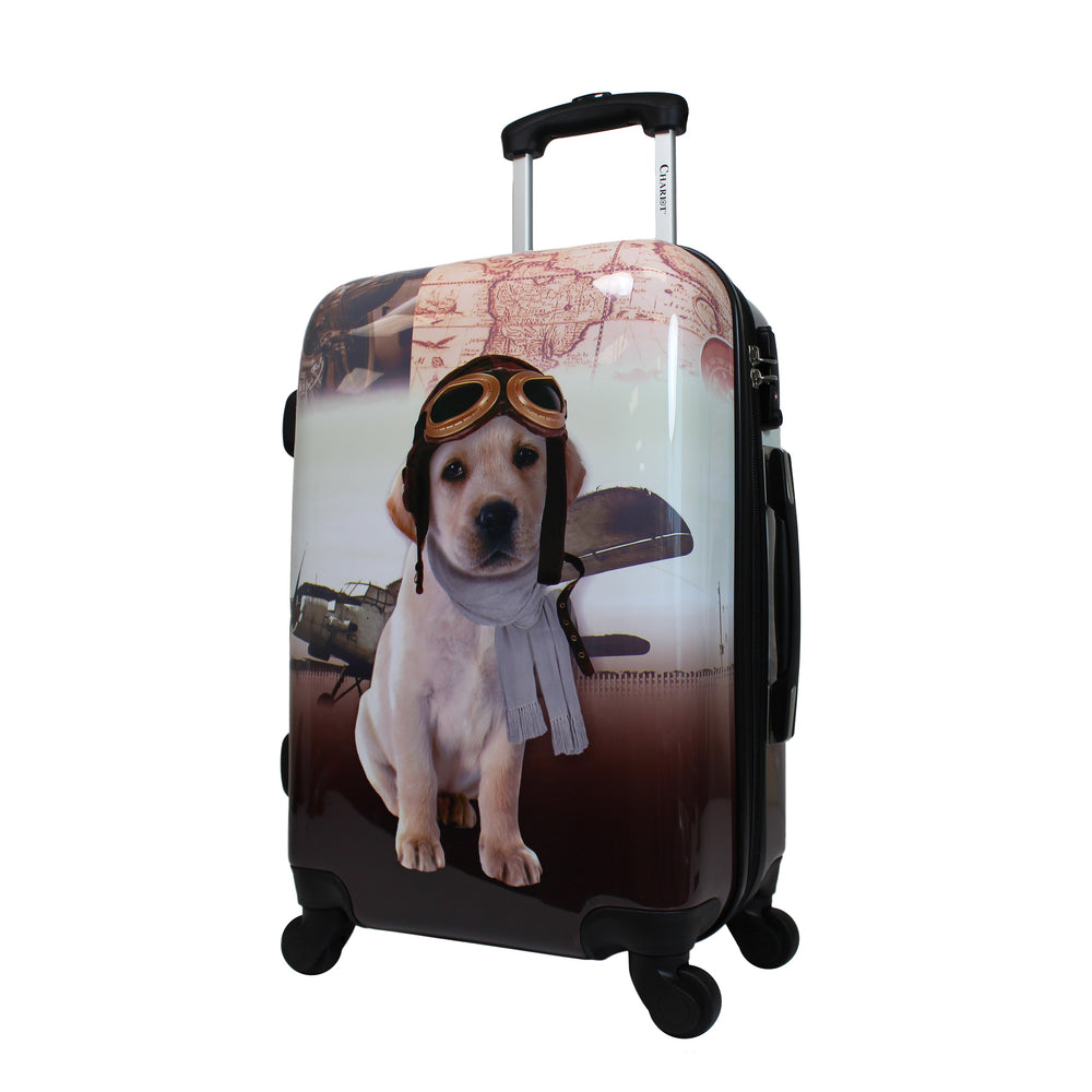 "Chariot 20"" Lightweight Spinner Carry-On Upright Suitcase - Pilot Dog"