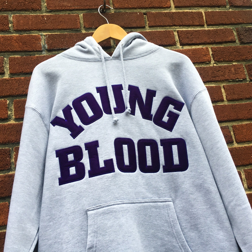Youngblood Felt Lettering Hooded Sweatshirt Grey with Purple Lettering