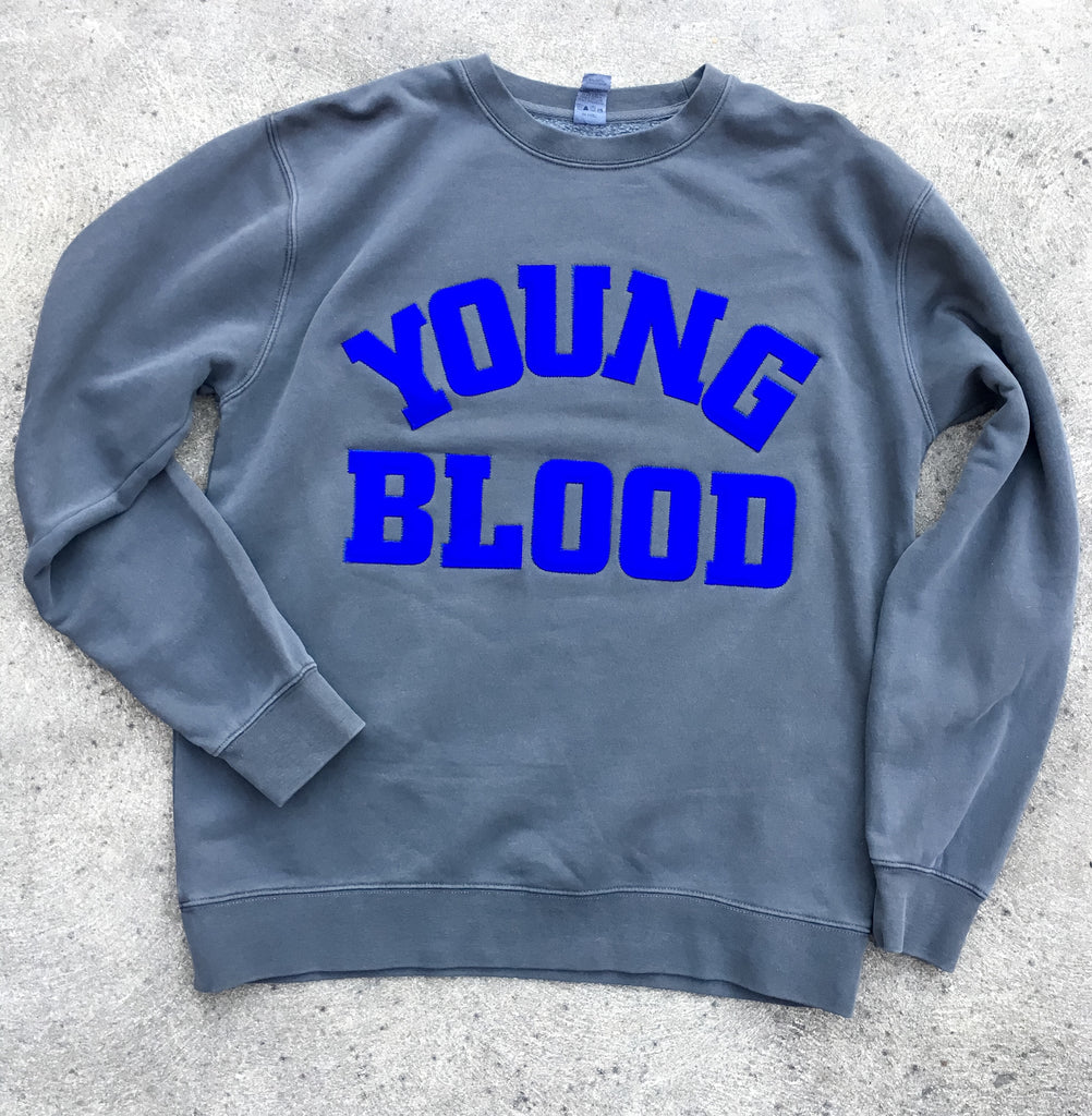 Youngblood Felt Lettering Crewneck Sweatshirt Dark Grey with Blue Lettering