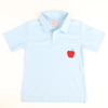 Embroidered Apple Light Blue Knit Polo