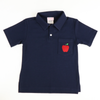 Embroidered Apple Navy Knit Polo