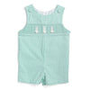 Smocked Cotton Tail Bunny Palm Green Seersucker Shortall