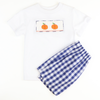 Smocked Pumpkins Navy Check Shirt & Shorts Set