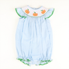 Smocked Pumpkin Blue Gingham Bubble