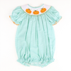 Smocked Pumpkin Mint Gingham Bubble