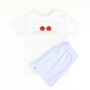 Smocked Blue Stripe Apple Shirt & Short Set