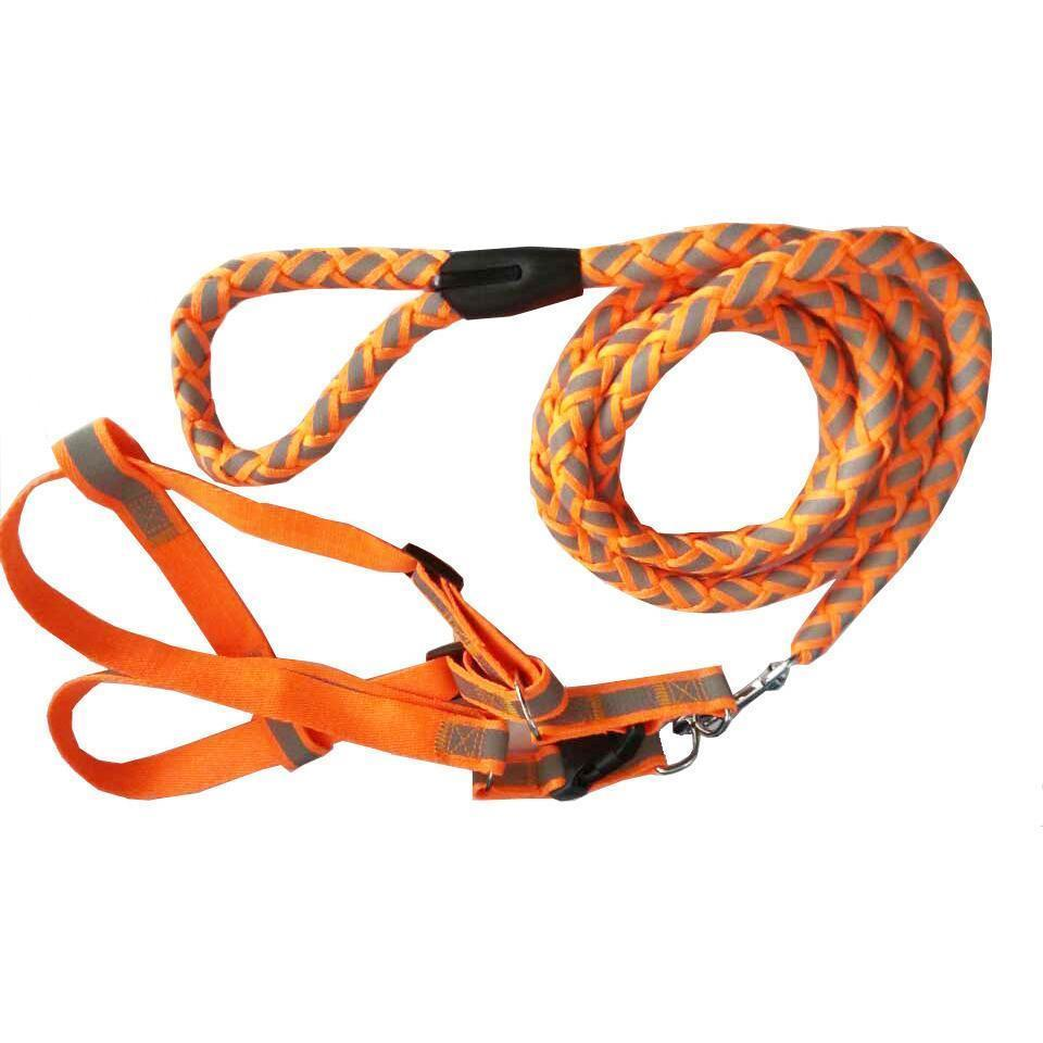 Pet Life ® 'Easy Tension' Reflective Stitched Adjustable 2-in-1 Pet Dog Leash and Harness Small Neon Orange