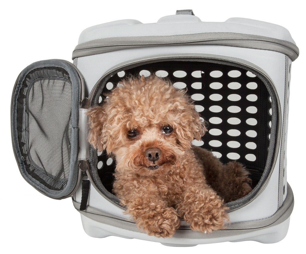 Pet Life ® 'Circular Shelled' Perforated Lightweight Collapsible Military Grade Travel Pet Dog Carrier Light Grey