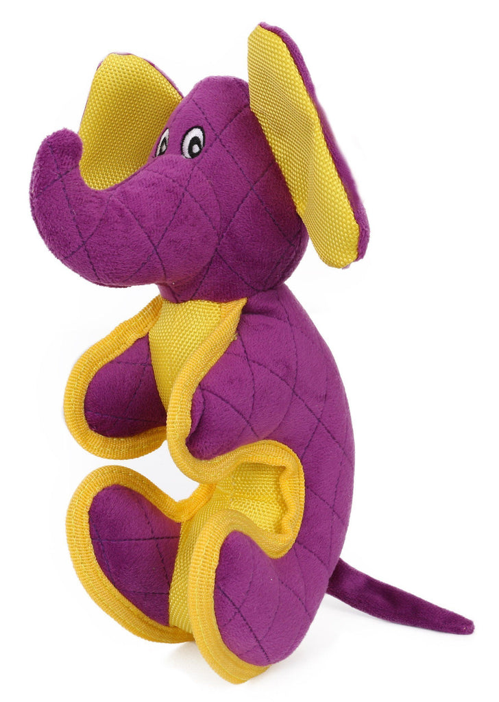 Pet Life ® 'Dino-Funimal' Animated Cartoon Quilted Plush Nylon Quilted Animal Squeaker Chew Tug Pet Dog Toy Purple
