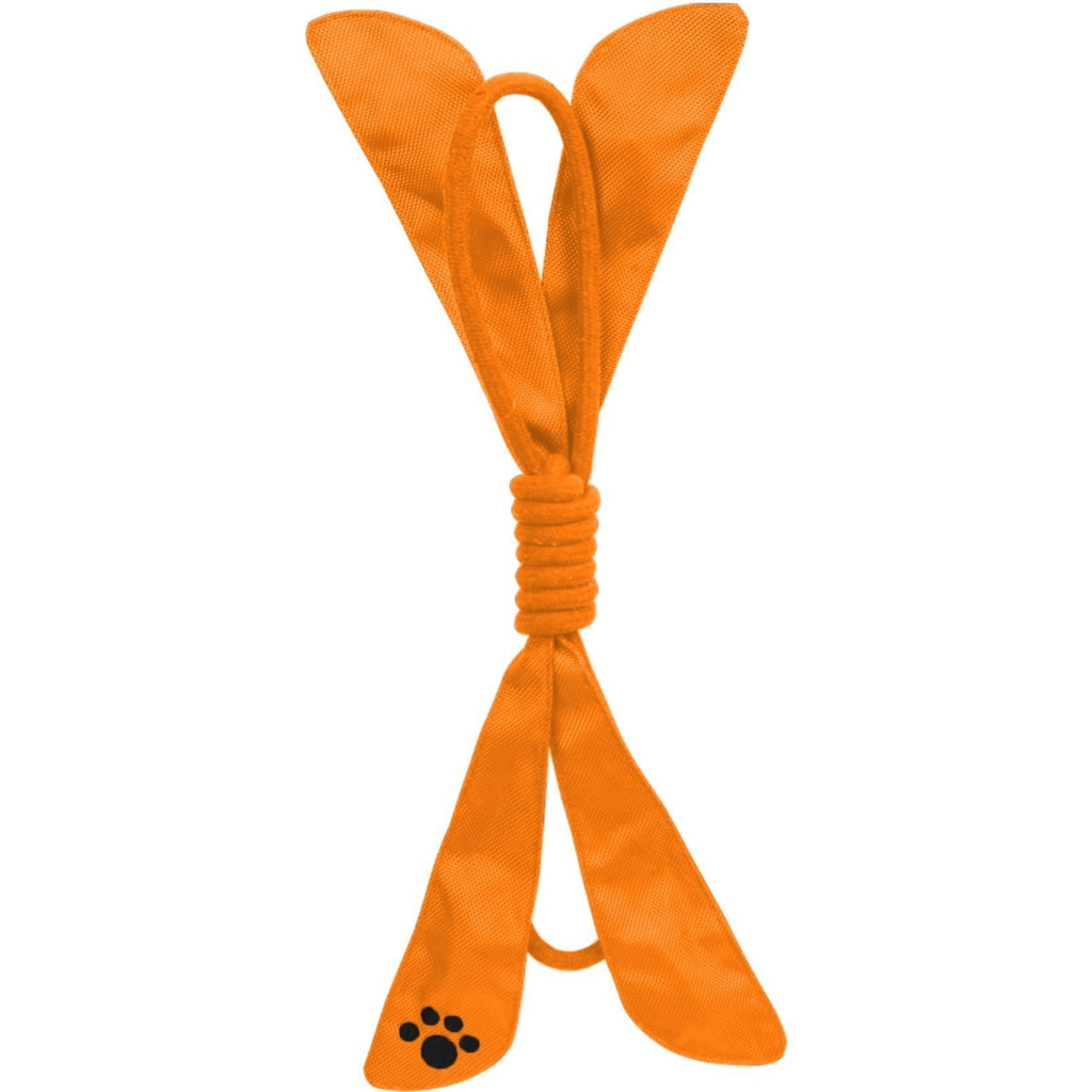 Pet Life ® 'Extreme Bow' Eco-Friendly Natural Jute Sporty Durable Squeak Tugging Pet Dog Rope Toy Orange