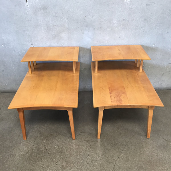 Mid Century Solid Wood Two Tiered End Tables
