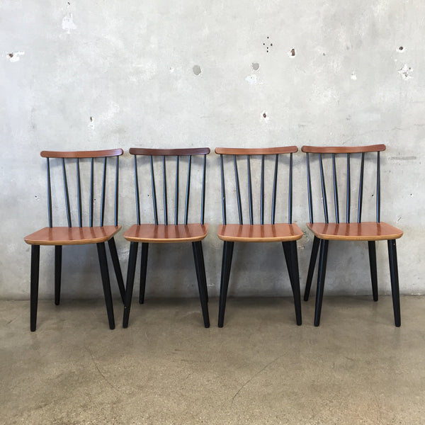 Set of Four Mid Century Danish Spindle Back Dining Chairs