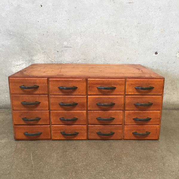 Vintage 16 Drawer Wood Cabinet