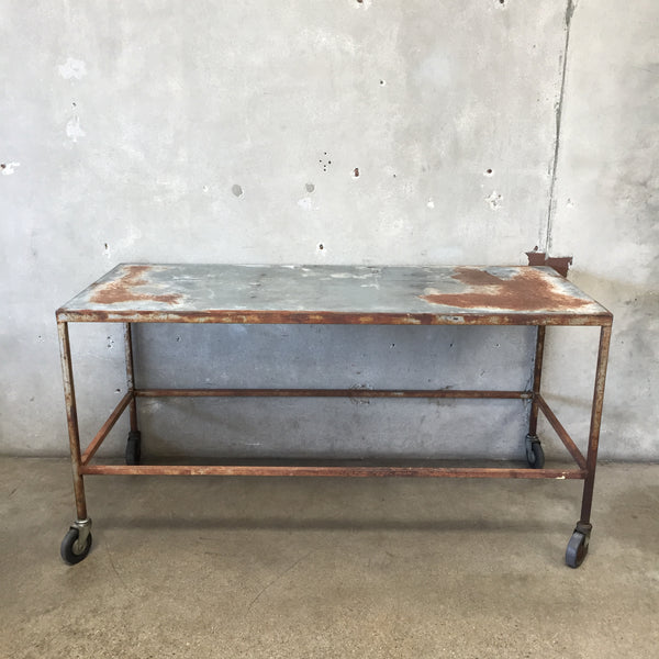 Industrial Table on Wheels