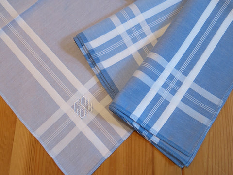 Set of 3 Assorted Color Fine Cotton Mens Handkerchiefs, Style No. 2029 with Monogram Style No. 4