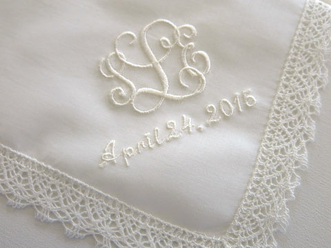 Ivory Cotton Lace Handkerchief with Interlocking 3-Initial Monogram and Date
