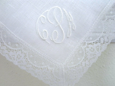 Irish Linen Lace Handkerchief with Classic 3-Initial Monogram