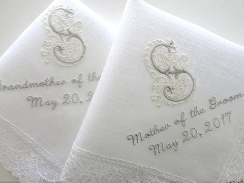 White Irish Linen Lace Handkerchief with Classic Zundt 1-Initial Monogram, Title and Date
