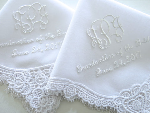 Wedding Handkerchief with Interlocking 3-Initial Monogram, Mother of the Bride and Date