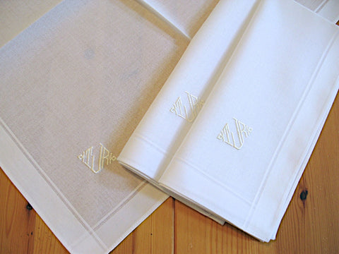 Set of 3 White Fine Cotton Mens Monogrammed Handkerchiefs