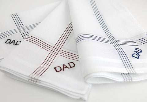 Set of 3 Assorted Color Stripe Fine Cotton Mens Handkerchiefs, Style No. 2029 with Monogram Style No. 3