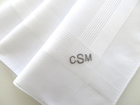 Set of 3 Fine Cotton Mens Monogrammed Handkerchiefs, Style No. 2045
