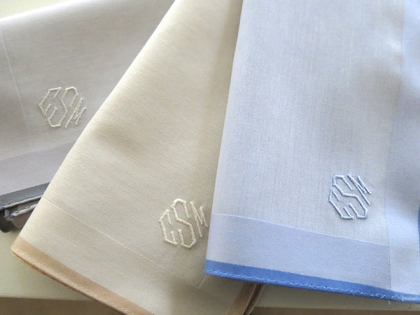 Set of 3 Assorted Color Fine Cotton Mens Handkerchiefs Style No. 2048 with Monogram Style No. 4