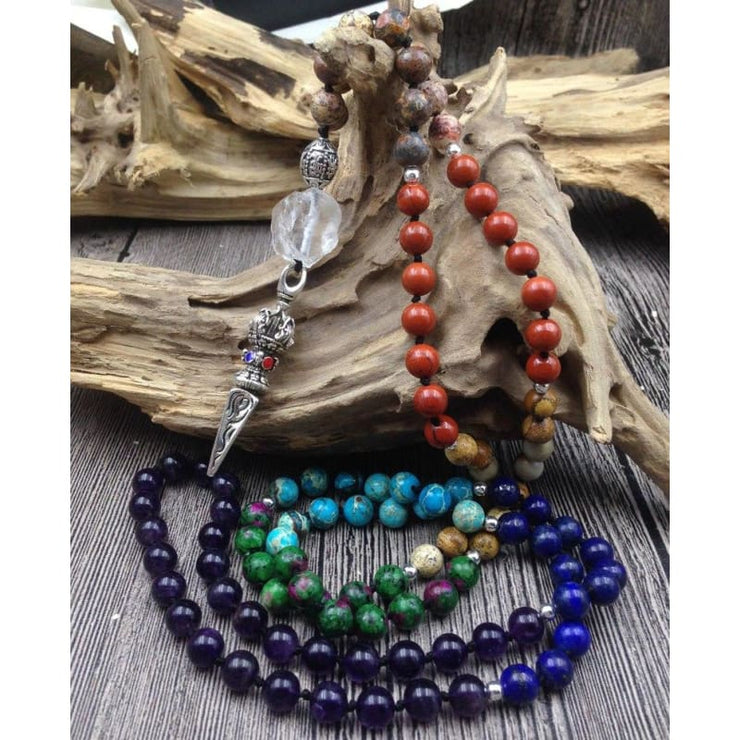 7 Chakra Stone Amethysts 108 Prayer Beads Necklace With Tibetan Pendant