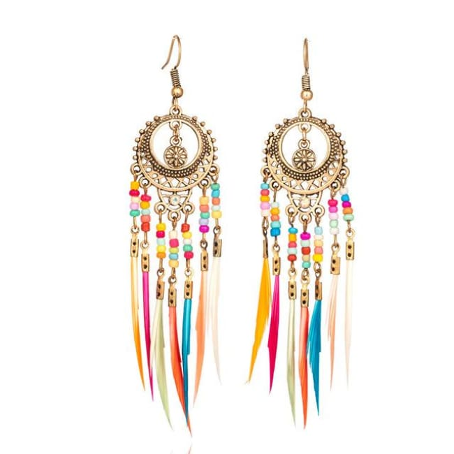 (Clearance) Vintage Ethnic Rainbow Feather Dangle Drop Earrings - Golden