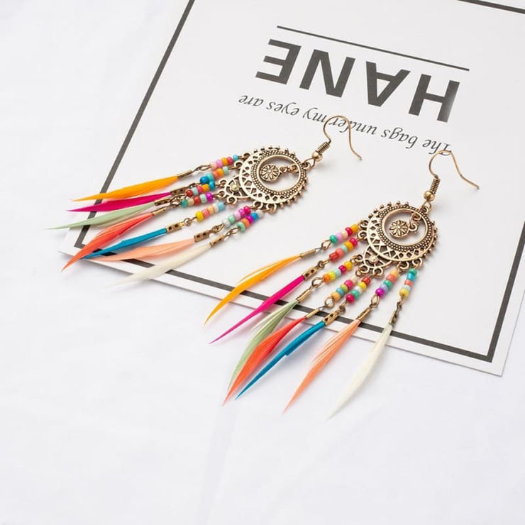 (Clearance) Vintage Ethnic Rainbow Feather Dangle Drop Earrings