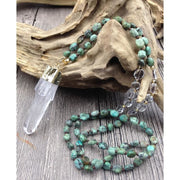 Natural Quartz Pendant Turquoise Beaded Pendant Necklace