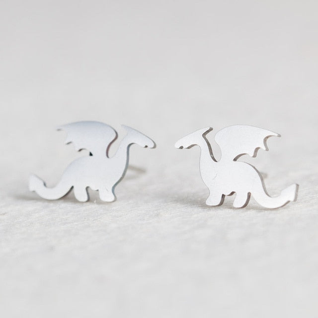 (CLEARANCE) Silver Stainless Steel Animal Stud Earrings