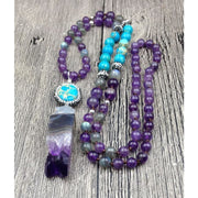 Turquoise & Amethyst Mala Bead Necklace