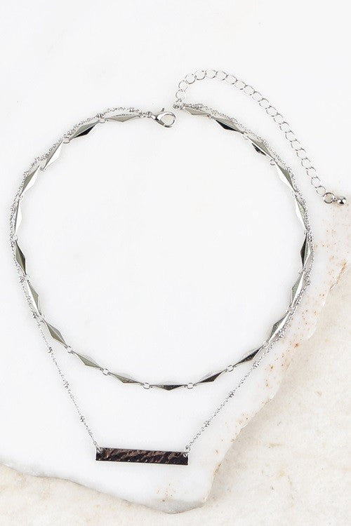 Textured Bar Necklace - Silver