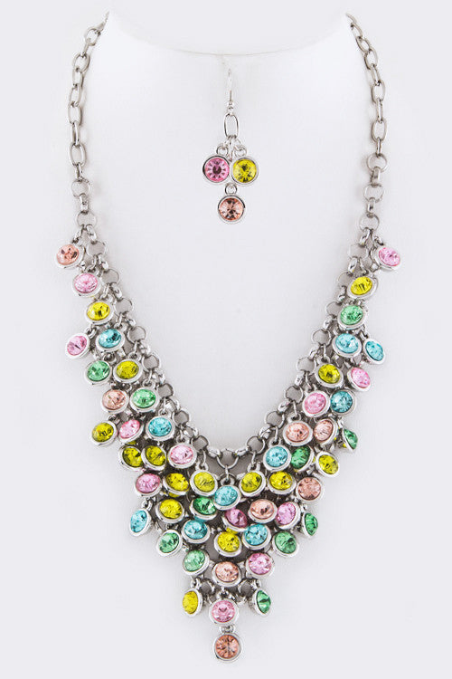 Crystal Drop Statement Necklace - Multi Color