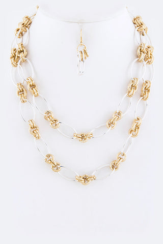 Layered Mix Chains Necklace Set