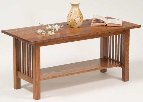 Hardwood Mission Coffee Table with Shelf