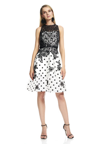 Lace and Polka Dot Dress -  Sleeveless Cutaway jewel neckline Illusion neckline Cotton lace bodice Polka dot printed twill f...