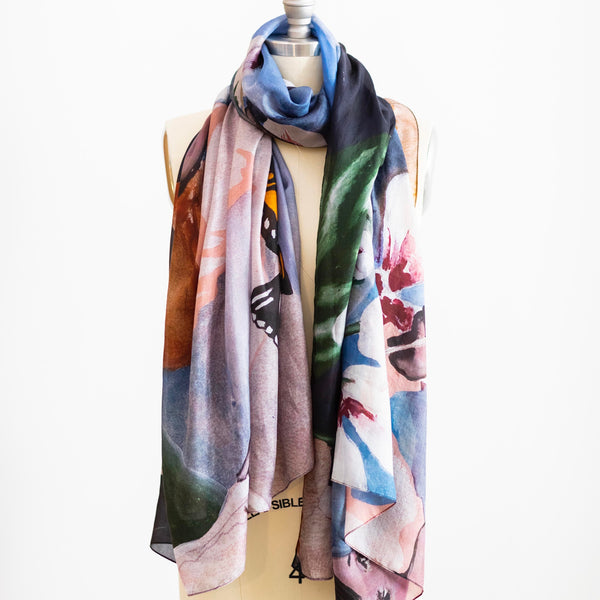 'Butterfly Catcher' 100% Tabby silk scarf. 110 x 200cm