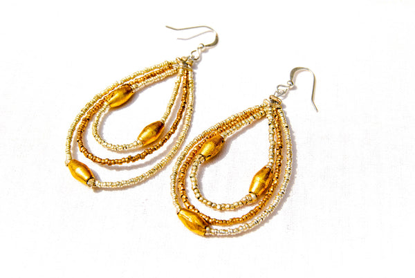 Triple Bead Bullet Casing Hoop Earrings