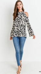 Ivory Leopard Print Cold Shoulder Top - Midnight Magnolia Boutique