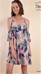 Dusty Pink Tropical Print Dress with Cold Shoulders - Midnight Magnolia Boutique