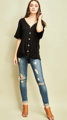 Black V-Neck Tie Top with Wooden Buttons - Midnight Magnolia Boutique