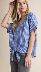 Blue & White Striped Tie Top - Midnight Magnolia Boutique