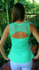 Mint Green Lace Peplum Top with Keyhole Back - Midnight Magnolia Boutique