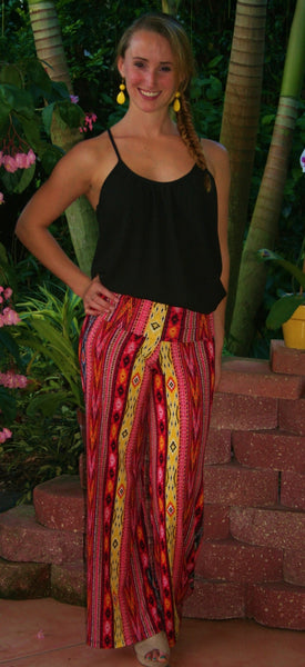 Orange Aztec Print Palazzo Pants - Midnight Magnolia Boutique
