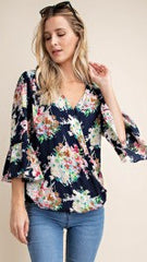 Navy Floral Cross Over Top with Ruffle Sleeves - Midnight Magnolia Boutique
