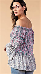 Navy & Pink Multi Print Off Shoulder Top - Midnight Magnolia Boutique